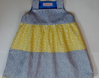 Baby girl dress, handmade, pure cotton, 12-18 mos, lined bodice, raised waist, gathered skirt, blue, yellow, white, spring, summer or Easter