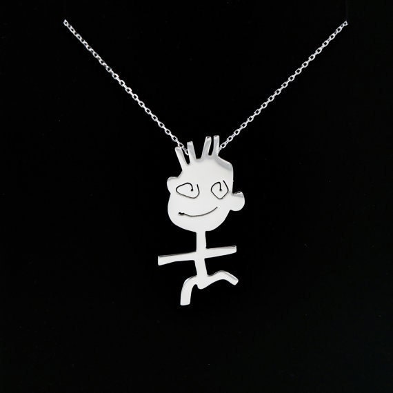 MEDIUM SIZE Personalized jewelry, custom design necklaces, children's drawings, kids, personalized gift, gift for her