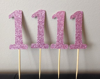 First Birthday Glitter Cupcake Toppers