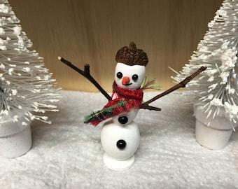 Miniature Snowman, Miniature FairyGarden Snowman, Miniature Dollhouse Snowman, Miniature Terrarium Snowman, Miniatures, Christmas, Holiday