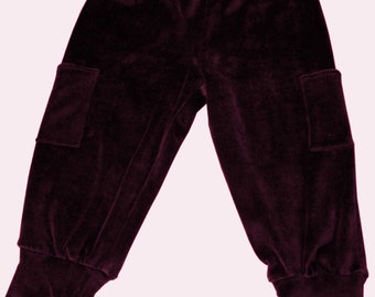 organic velour pants with soft cuffs and pockets in burgundy or other colors