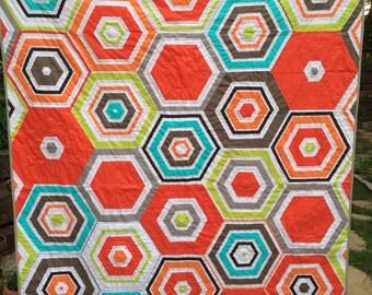 Big Striped Hezagon quilt | lap sized quilt| Modern Quilt