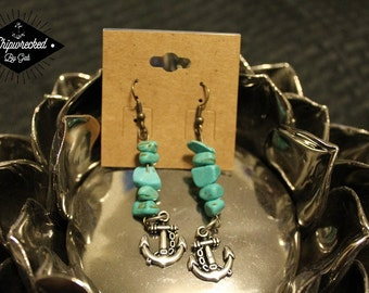 """Turquoise and Anchor Earrings """"Hooked"""""""