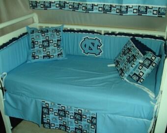 Carolina Tarheels Custom Made 8 pc (or made bumperless or in pink) nursery baby crib bedding set mw NCAA Carolina Tarheels fabric NEW