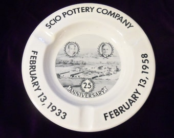 Vtg Scio Pottery Ashtray Smoking Tobacciana Coffee Table Ashtray Scio 25th  Anniversary February Heavy Table Ashtray 1958 Office Ohio