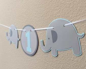 Elephant First Birthday Party High Chair Banner in Light Blue, Grey and Dark Grey