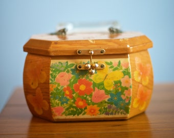 Vintage Wood Lacquer Decoupage Purse - Butterflies and Flowers