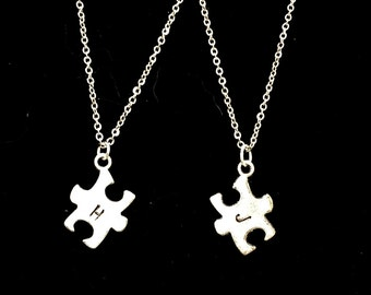 Hand stamped puzzle piece necklace, best friend initial necklaces, Couple's matching puzzle necklaces