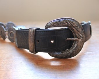 Concho Vintage belt, concho style metal and leather