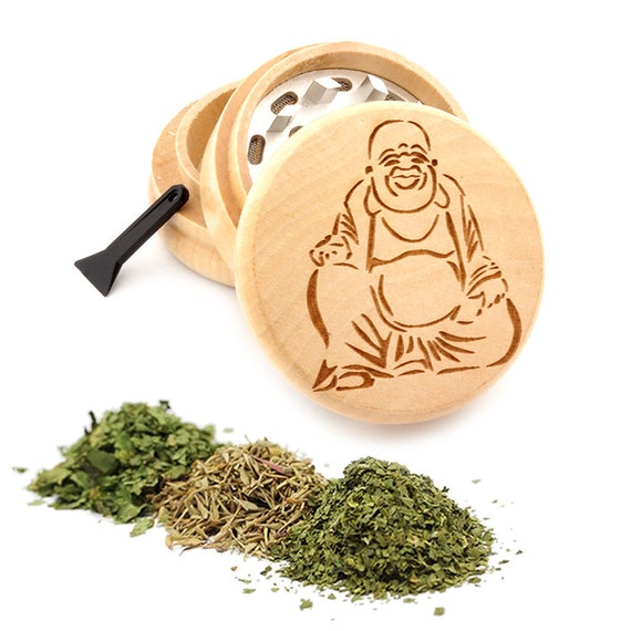 Happy Buddha Engraved Premium Natural Wooden Grinder Item # PW050916-78
