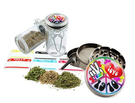 """Love and Peace - 2.5"""" Zinc Alloy Grinder & 75ml Locking Top Glass Jar Combo Gift Set Item # G022115-029"""
