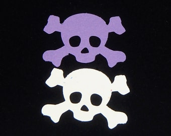 White or Purple Skull and Cross Bones Cut Outs, Halloween decorations, Pirate Embellishment, Small skull and bones, Jolly Roger Cut Out