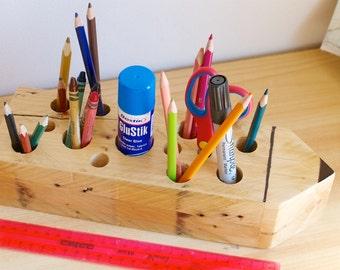 Rustic Wooden Pencil Holder (Novelty Pencil Design); Pencil Holder