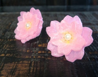 Cherry blossom,Earrings ,Sakura Jewelry,Japanese Style Earrings,Spring Jewelry,Washi,Origami