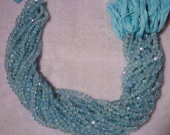 Aquamarine Faceted Rounds, Aquamarine Round Beads, Aquamarine Beads