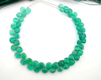 Green Onyx Faceted Hearts