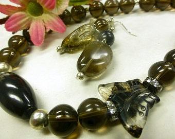 Smoky quartz set with smoky quartz Butterfly