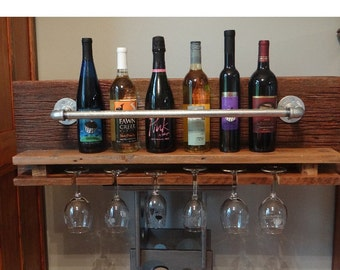 Reclaimed Barnwood + Pipe Wine Rack