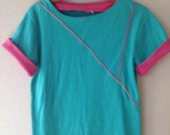 Stylin' 80's T-Shirt Turquoise with Fuschia & Coral details