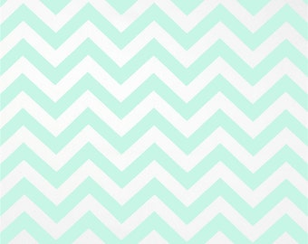 Premier Prints Cotton Fabric, Mint Zig Zag Fabric, Mint Chevron Fabric