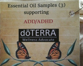 Essential Oil Samples (3) for ADD/ADHD (Peppermint, Clary Sage, Ylang Ylang)