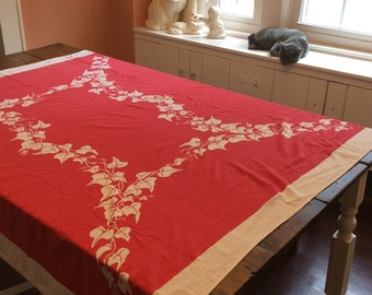 Vintage Red & White Linen Tablecloth, Mele Kalikimaka, 1960s (A471)