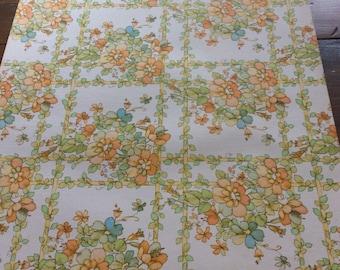 Vintage 1977 Wallpaper Sample - 15x17 Pink, Peach, Blue Flowers on Trellis (A862)