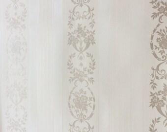 "Vintage 1977 Wallpaper Sample - 17""x15"" White, Ivory Beige (A862)"