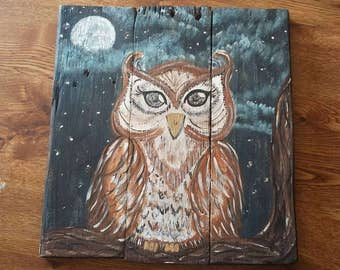 Night owl painting, owl sitting on a limb, whimsical owl reclaimed pallet art, wooden art