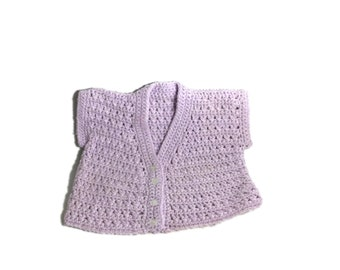 Crochet Baby Waistcoat Lilac 0-6 Months Baby Wool
