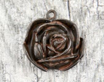 Rose Pendant, Large Rose, Rose Charm, Rustic Charm, Rustic Pendant, Patina Pendant, Patina Charm, Brown Rose