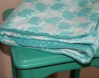 Receiving Blanket - Flannel - Blue Elephant - Swaddle Blanket