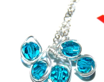Blue Bohemian crystal, lead and silver chain 925.