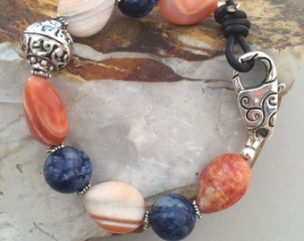 Sodalite and Agate Bracelet, Leather and Pewter Clasp, Handmade Bracelet