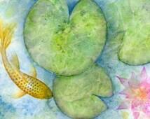 Watercolor fish pond print, japanese koi fish illustration, gold oriental carp fish art, koi pond giclee print, zen home decor, small/medium