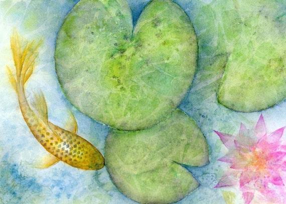 Watercolor Fish Pond Print Japanese Koi Fish By Srorickart