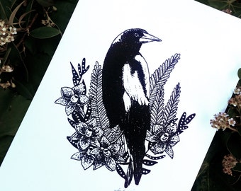 Magpie Print- Home Decor, Wall Art, Nature Bird Print