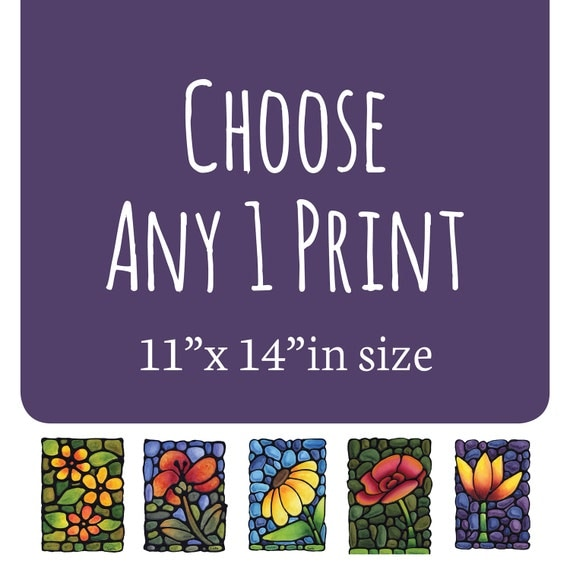 11 x 14 inch size print choose your own flower landscape for Choose your own home