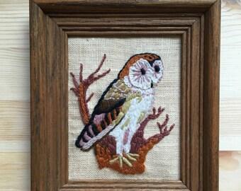 Framed Embroidered Owl