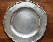 "Antique Stainless Steel 10"" Plate/Platter Tray with Wavy Edge"
