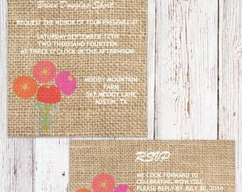 Burlap Printable Wedding Invitations, Rustic Burlap wedding invitation printable, Burlap