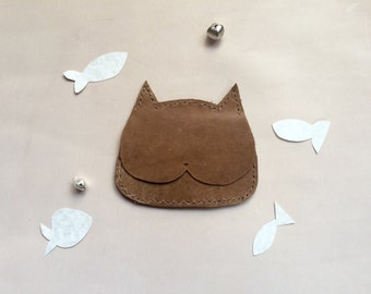 Cat Leather Card Wallet - Coffee