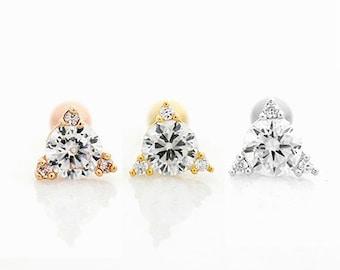CZ Triangle Helix Earring, CZ cartilage earring, triangle cartilage earring, conch piercing, tragus piercing, triangle stud earring