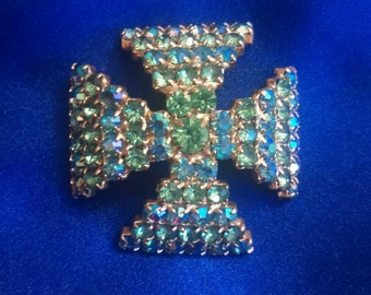 Vintage Blue-Green Rhinestone Cross Brooch / FREE SHIPPING within U.S.