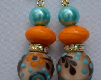 Turquoise and Orange Earrings Glass Pearls and Lamp Work Beads