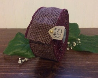 "2"" x 10 yrd  Wired Burgundy Burlap Ribbon - Colored Burlap Ribbon - Red Burlap Ribbon - 10 yrd - HI559-41"