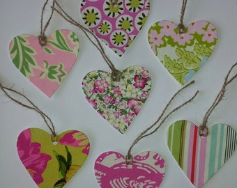 Handmade gorgeous fabric gift tags, Pack of 7
