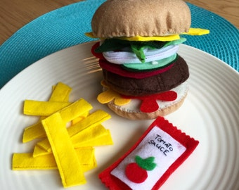 burger and chips with tomato sauce felt play food