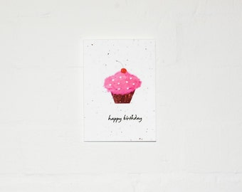 Happy Birthday Cupcake Plantable Card