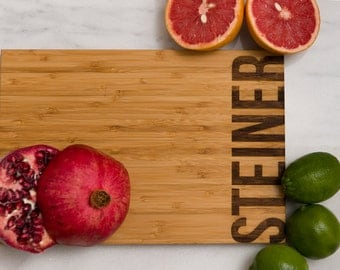 Personalized Cutting Board Wedding Gift Anniversary Family Name Engraved Monogram Initials Chef Kitchen Decor Chopping